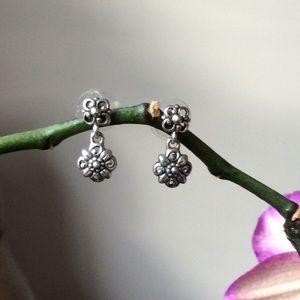 Sterling silver floral earrings